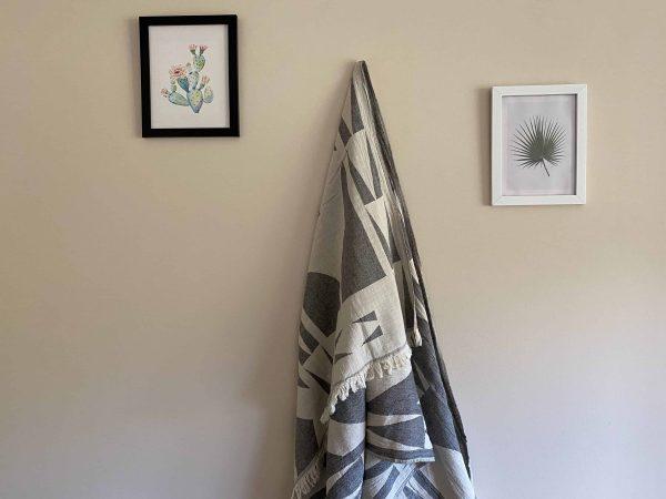 Monaco Turkish Towel - Black, 100% Organic Cotton, Handmade, Bath Towel, Peshtemal, Sauna Towel, Beach Towel