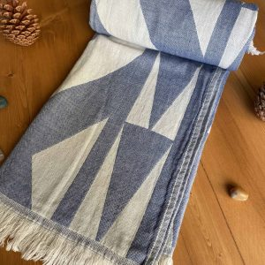 Monaco Turkish Towel - Blue, 100% Organic Cotton, Handmade, Bath Towel, Peshtemal, Sauna Towel, Beach Towel