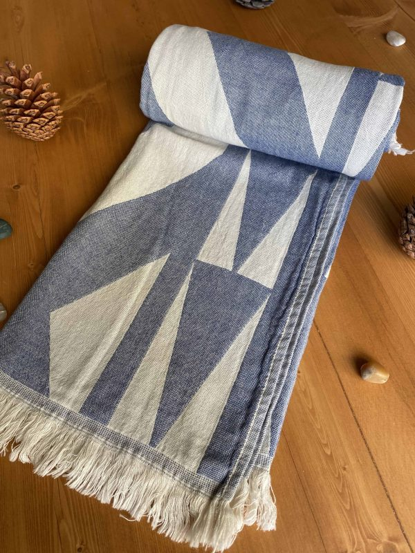 Monaco Turkish Towel - Blue, 100% Organic Cotton, Handmade, Bath Towel, Peshtemal, Sauna Towel, Beach Towel