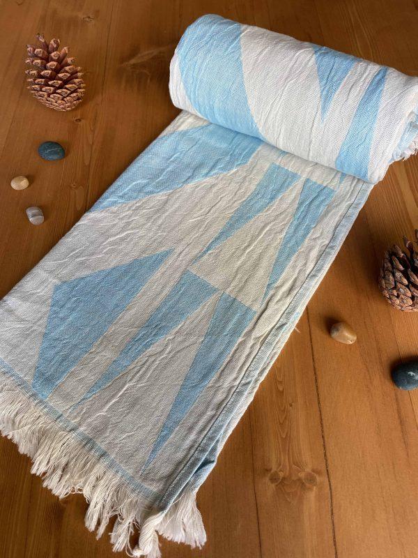 Monaco Turkish Towel - Ocean, 100% Organic Cotton, Handmade, Bath Towel, Peshtemal, Sauna Towel, Beach Towel