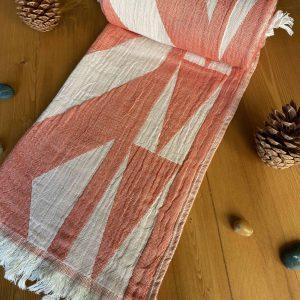 Monaco Turkish Towel - Orange, 100% Organic Cotton, Handmade, Bath Towel, Peshtemal, Sauna Towel, Beach Towel