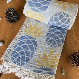 Pineapple Turkish Towel - Light Blue, 100% Organic Cotton, Handmade, Bath Towel, Peshtemal, Sauna Towel, Beach Towel