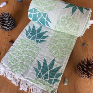 Pineapple Turkish Towel - Seafoam Green, 100% Organic Cotton, Handmade, Bath Towel, Peshtemal, Sauna Towel, Beach Towel