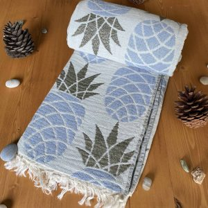 Pineapple Turkish Towel - Sky Blue, 100% Organic Cotton, Handmade, Bath Towel, Peshtemal, Sauna Towel, Beach Towel
