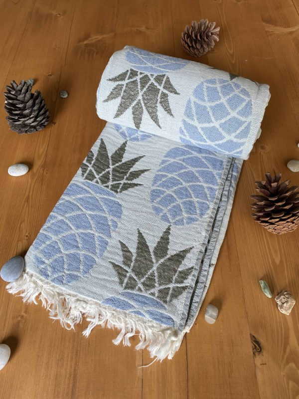 Pineapple Turkish Towel - Sky Blue, 100% Organic Cotton, Handmade, Bath Towel, Peshtemal, Sauna Towel, Beach Towel