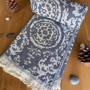 San Diego Turkish Towel - Blue, 100% Organic Cotton, Handmade, Bath Towel, Peshtemal, Sauna Towel, Beach Towel