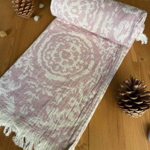 San Diego Turkish Towel - Pink, 100% Organic Cotton, Handmade, Bath Towel, Peshtemal, Sauna Towel, Beach Towel