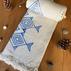 Santorini Turkish Towel - Hand Printed Blue Fish, 100% Organic Cotton, Handmade, Bath Towel, Peshtemal, Sauna Towel, Beach Towel
