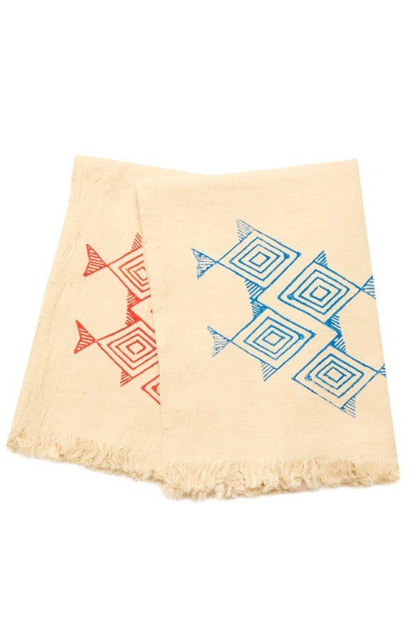 Santorini Turkish Towel - Hand Printed Blue Fish, 100% Organic Cotton, Handmade, Bath Towel, Peshtemal, Sauna Towel, Beach Towel