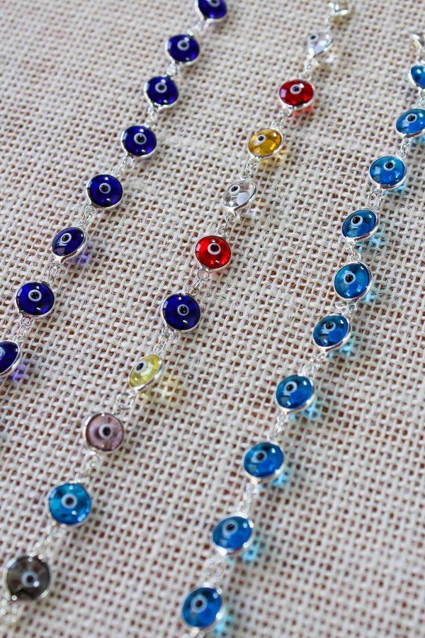 Silver Evil Eye Bracelets (10 eyes)