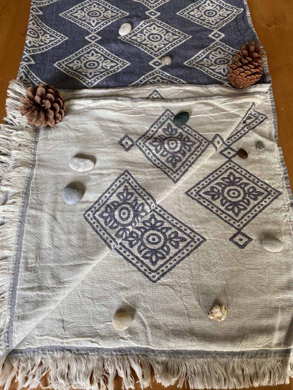 Sydney Turkish Towel - Blue, 100% Organic Cotton, Handmade, Bath Towel, Peshtemal, Sauna Towel, Beach Towel