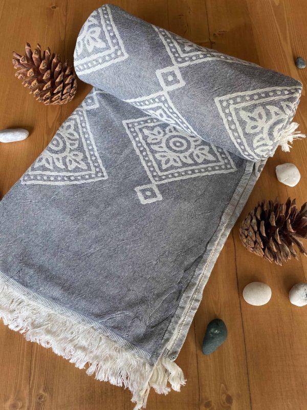Sydney Turkish Towel - Grey, 100% Organic Cotton, Handmade, Bath Towel, Peshtemal, Sauna Towel, Beach Towel