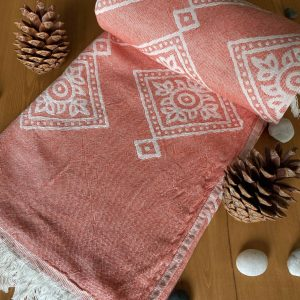 Sydney Turkish Towel - Orange, 100% Organic Cotton, Handmade, Bath Towel, Peshtemal, Sauna Towel, Beach Towel