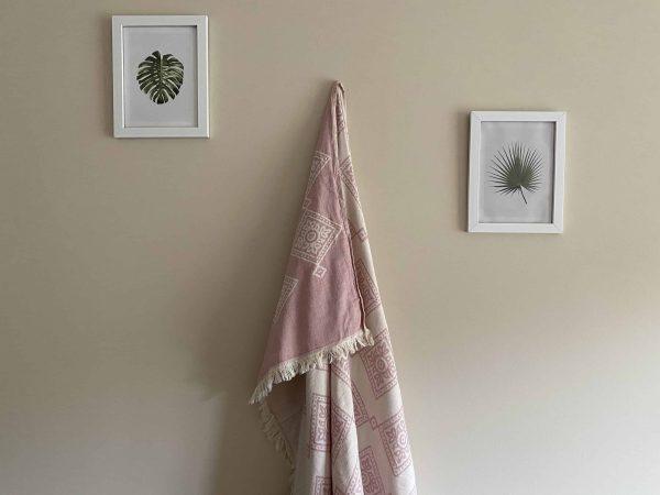 Sydney Turkish Towel - Pink, 100% Organic Cotton, Handmade, Bath Towel, Peshtemal, Sauna Towel, Beach Towel