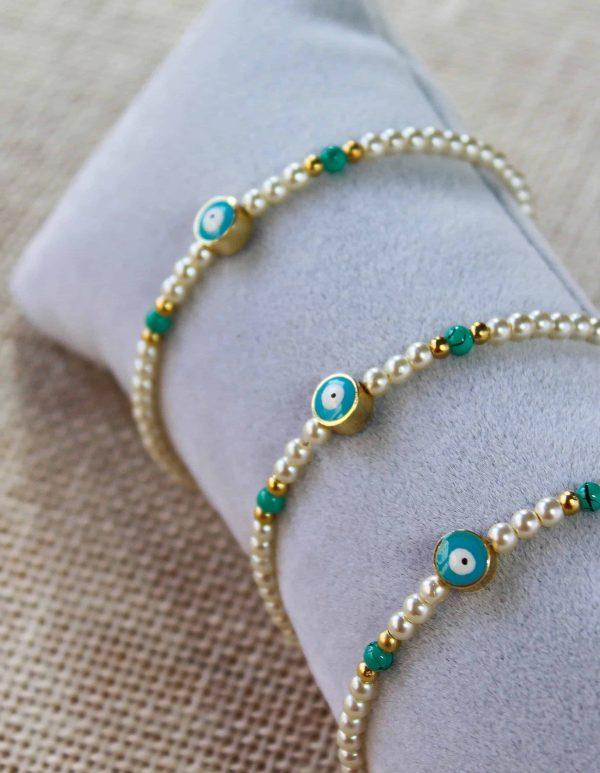 Turquoise Evil Eye Pearl Bracelet