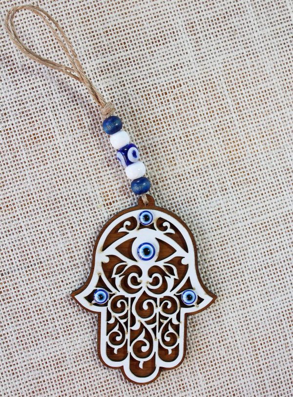 Wood Evil Eye Hamsa Hand Wall Ornament