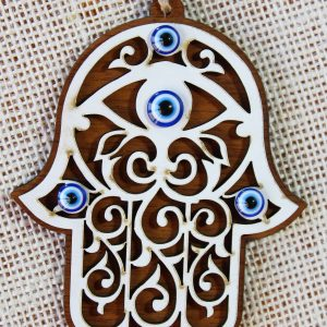 Wood Evil Eye Hamsa Hand Wall Ornament