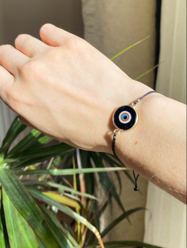Black Evil Eye Golden Adjustable Bracelet