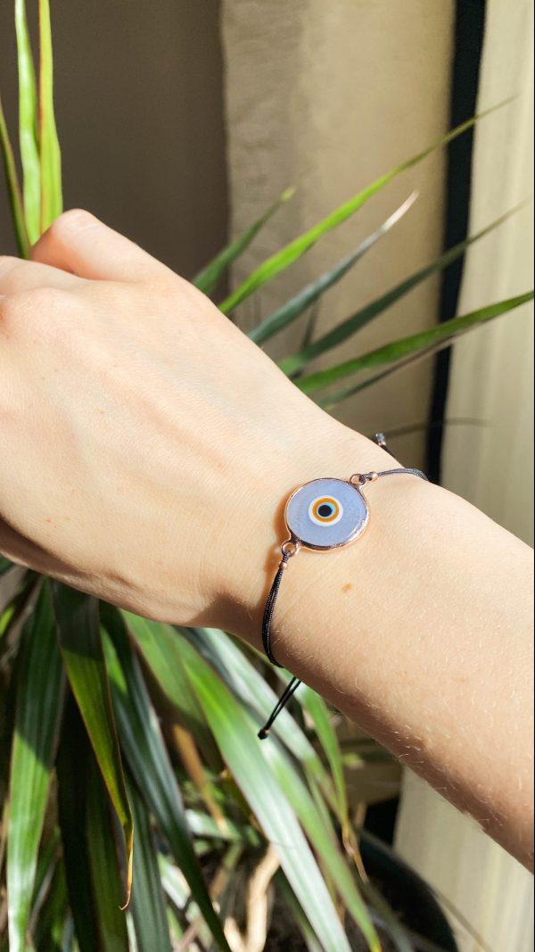 Gray Evil Eye Golden Adjustable Bracelet