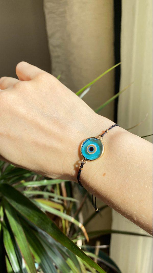 Green Evil Eye Golden Adjustable Bracelet