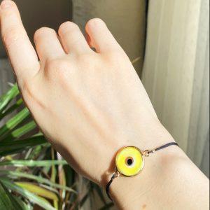 Yellow Evil Eye Golden Adjustable Bracelet
