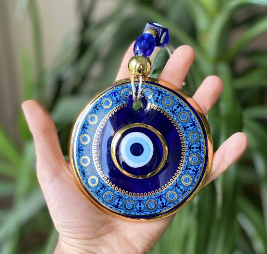 Large Round Blue Evil Eye Wall Hanging Nazar Boncuk