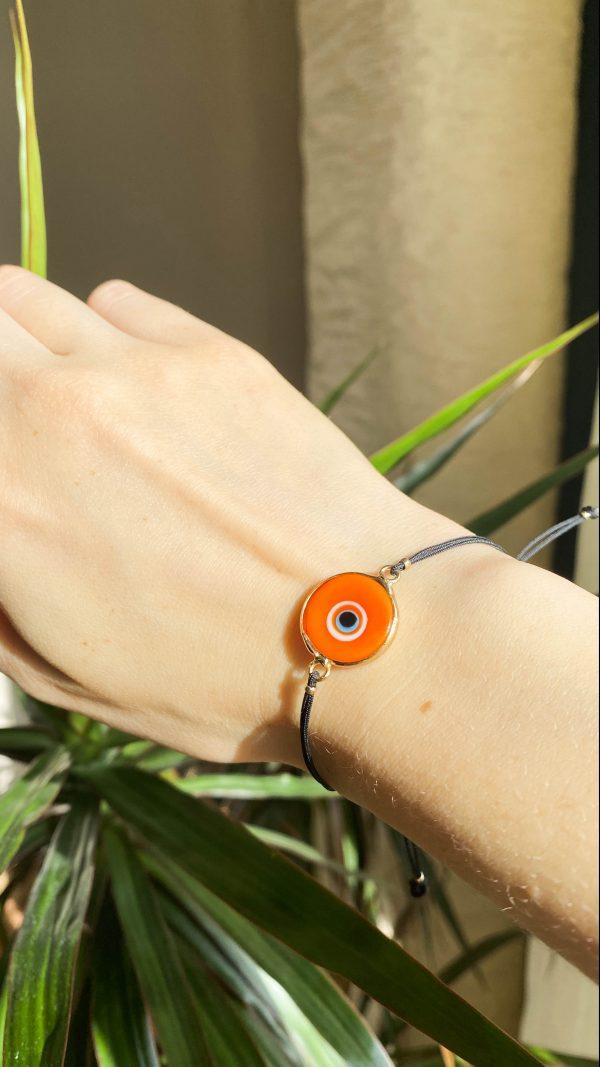 Orange Evil Eye Golden Adjustable Bracelet