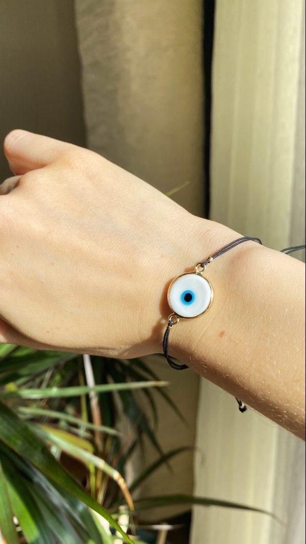 White Evil Eye Golden Adjustable Bracelet