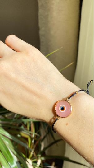 Pink Evil Eye Golden Adjustable Bracelet